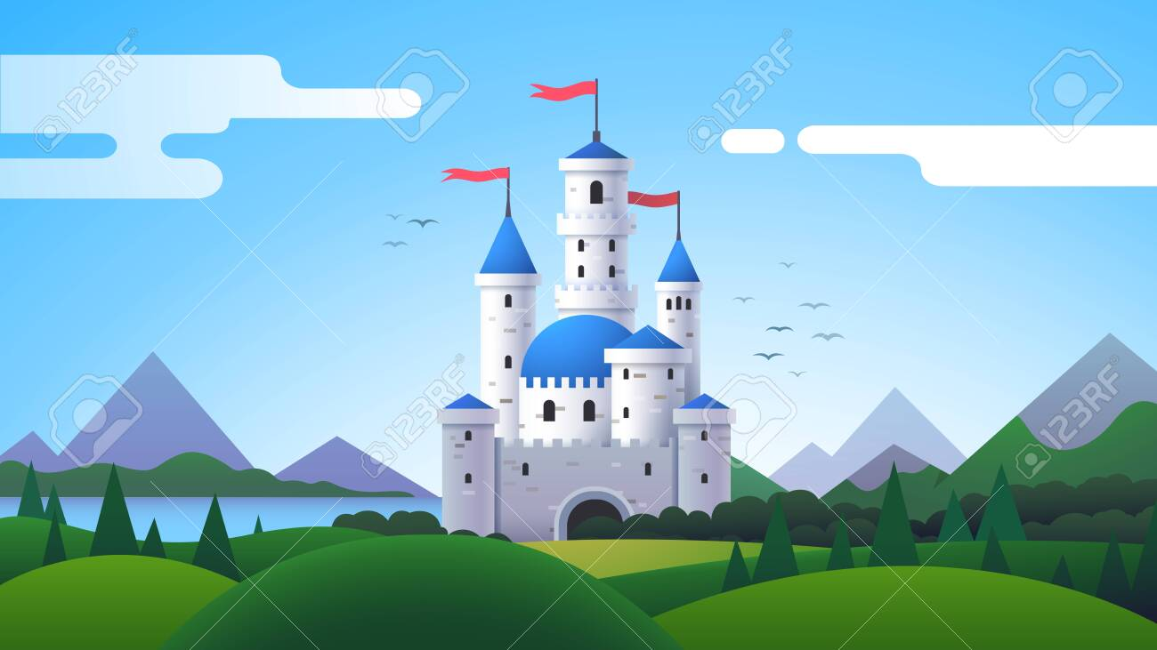 Fantasy landscape with castle, mountains and hills - 153287021