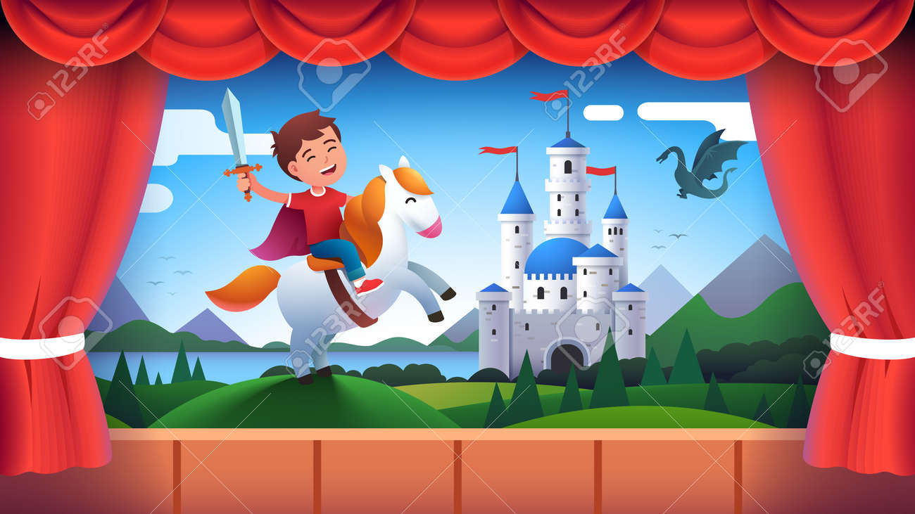 Boy kid actor role of medieval castle knight - 153287024