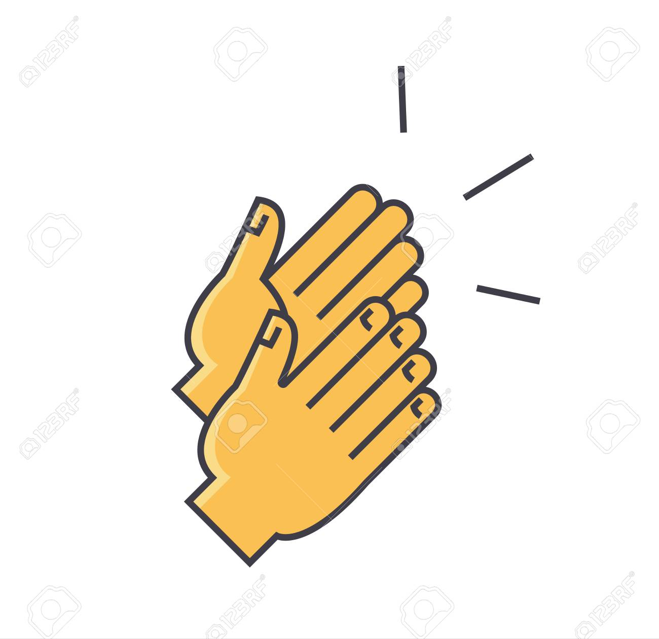 applause clapping hands concept flat linear illustration isolated