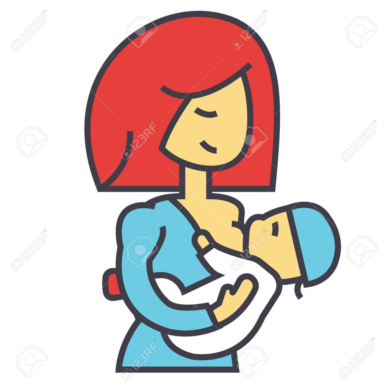 Mother breastfeeding baby, lactation, feeding child concept. Line vector icon. Editable stroke. Flat linear illustration isolated on white background - 83978774