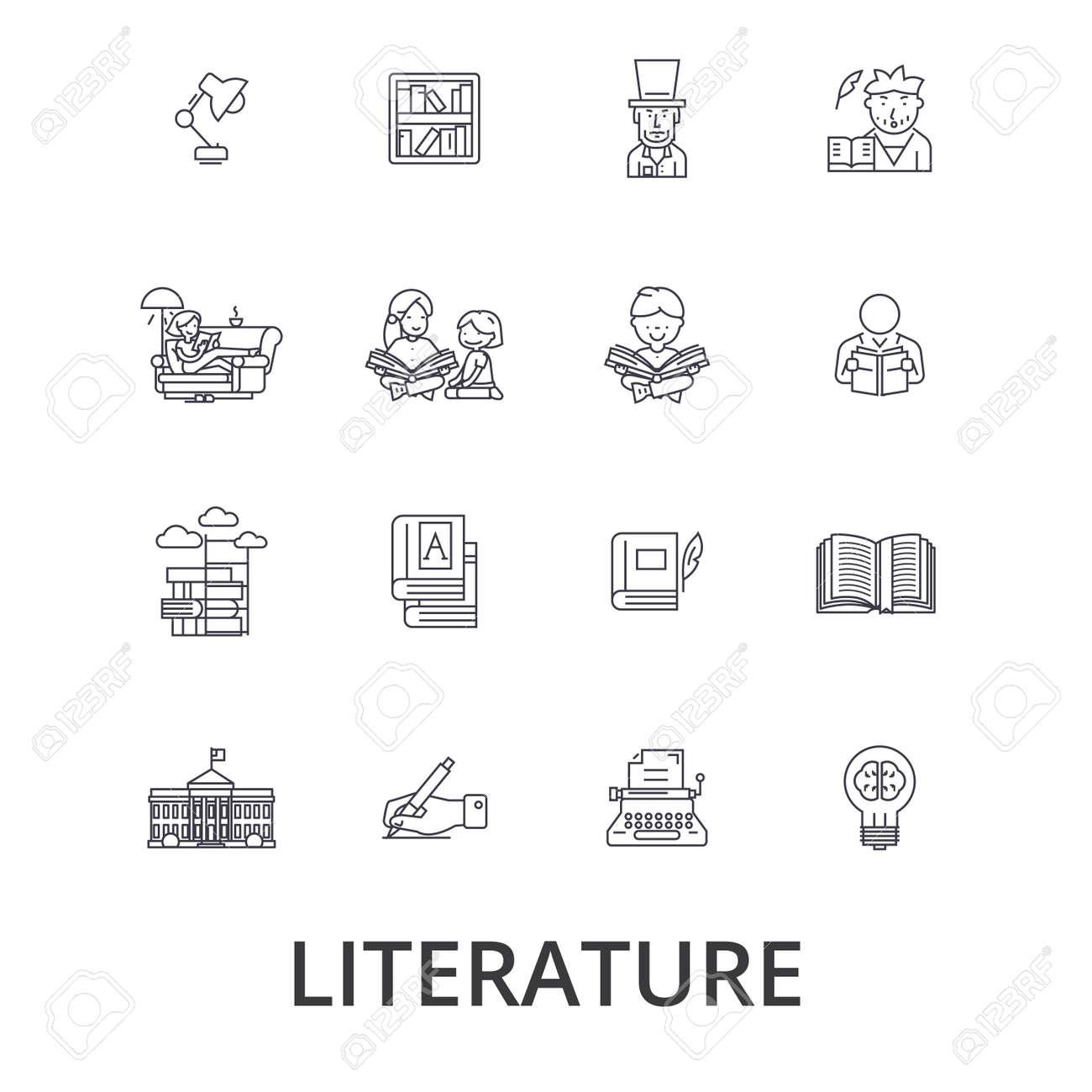 Litterature Livre Ecriture Bibliotheque Musique Lecture Anglais Lettre Icones De Ligne Histoire