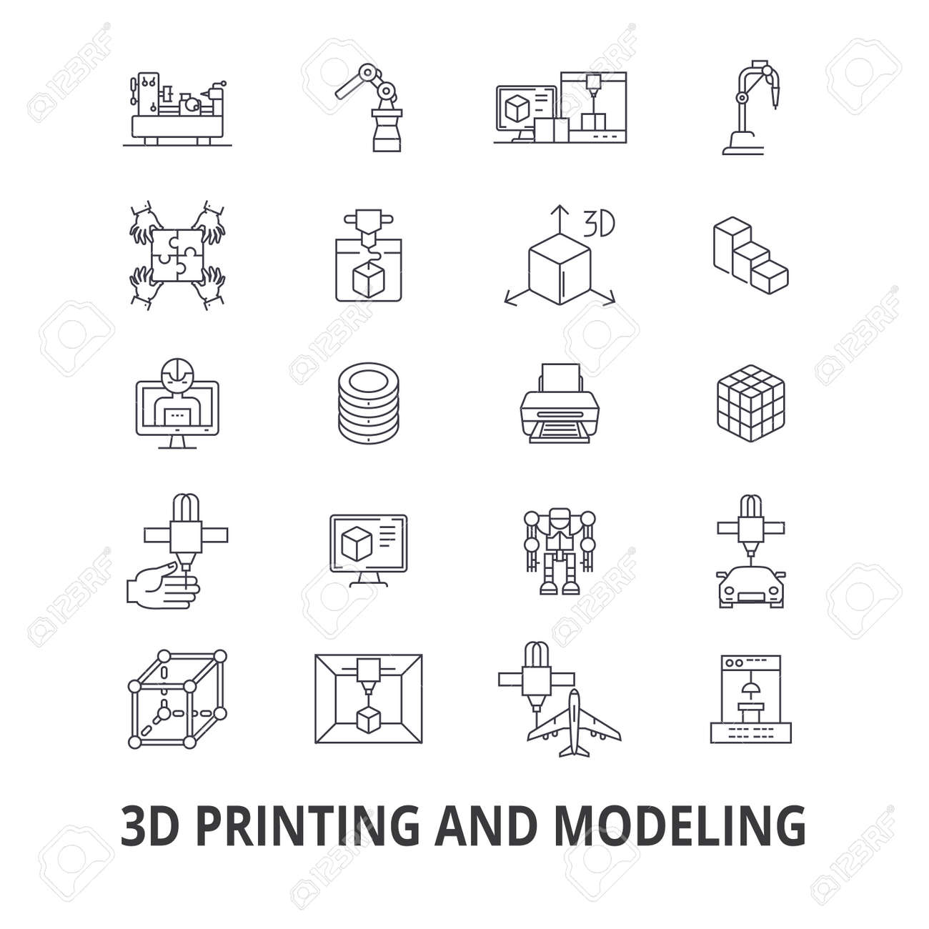 3d printing, model, graphics, prototype, modeling, manufacturing, production line icons. Editable strokes. Flat design vector illustration symbol concept. Linear signs isolated on background - 85713780