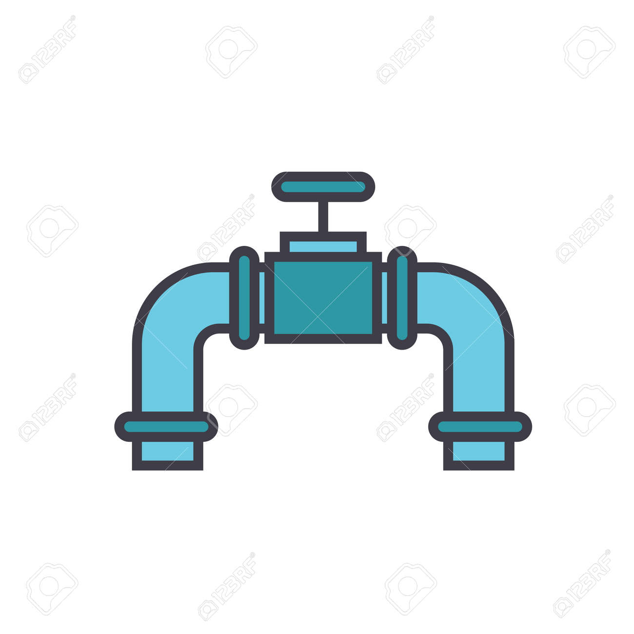 Pipes With Gas Valve Flat Line Illustration Concept Vector Icon