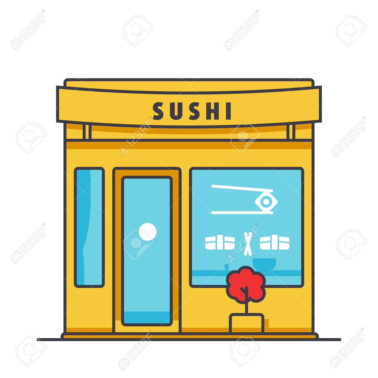 Sushi Restaurant Building Flat Line Illustration Concept Vector Royalty Free Cliparts Vectors And Stock Illustration Image 86035084