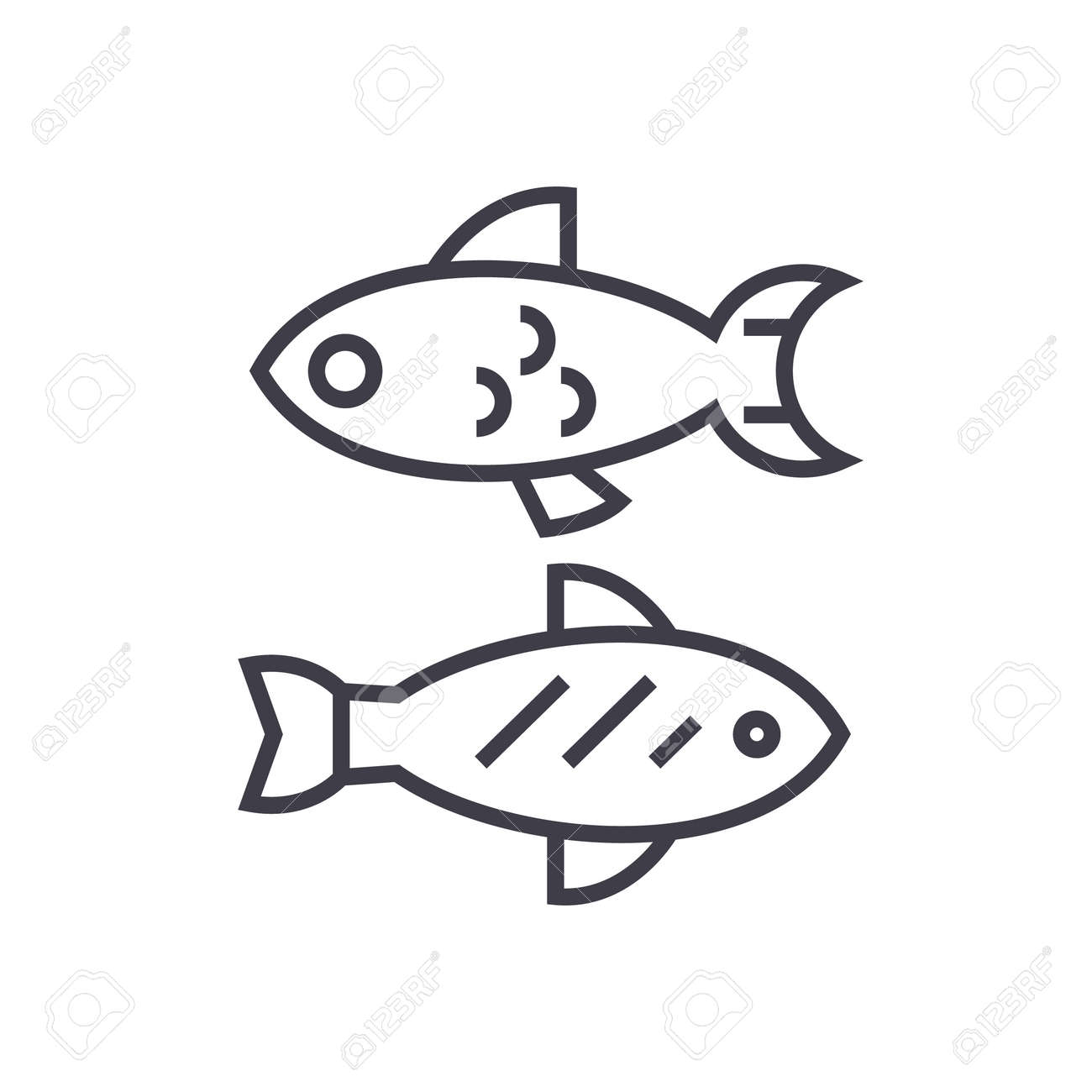 Small Fish Vector Line Icon Sign Illustration On White Background