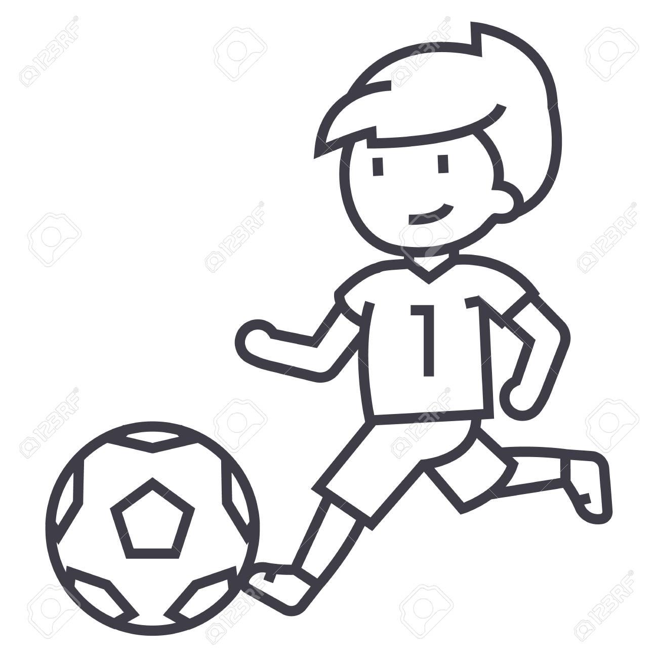 Futbol Nino Jugando Futbol Vector Linea Icono Signo Ilustracion
