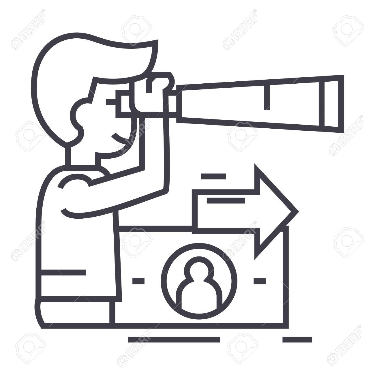 strategic vision, planning, man with spyglass vector line icon, sign, illustration on white background, editable strokes - 87220888
