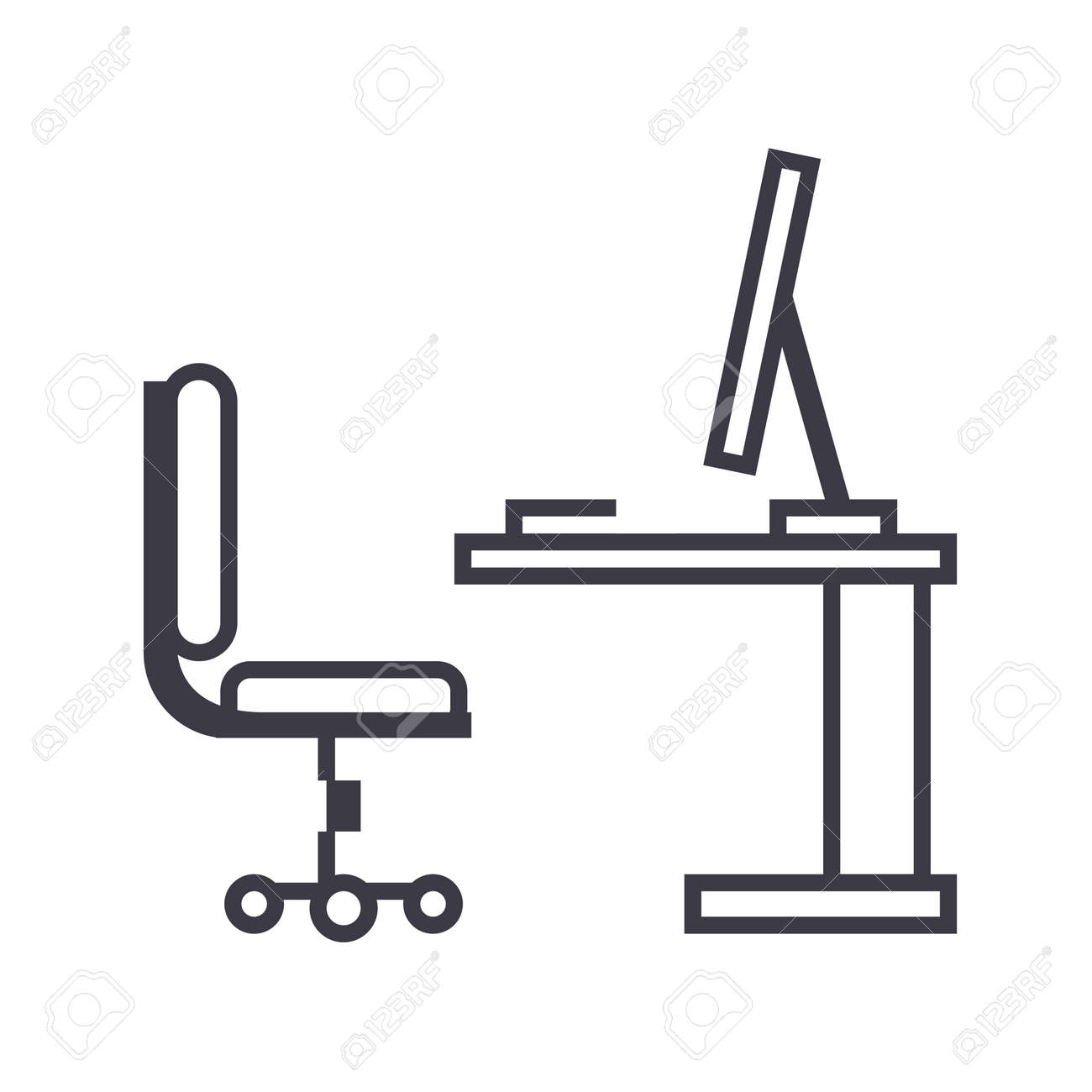 Table,office Desk With Computer Sideview Vector Line Icon, Sign ... for office chair vector side view  45ifm