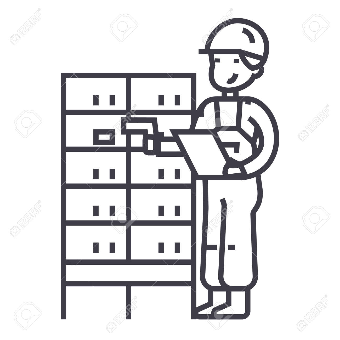 Warehouse Delivery Man Checking Barcode On Post Boxes Vector Royalty Free Cliparts Vectors And Stock Illustration Image 87221286