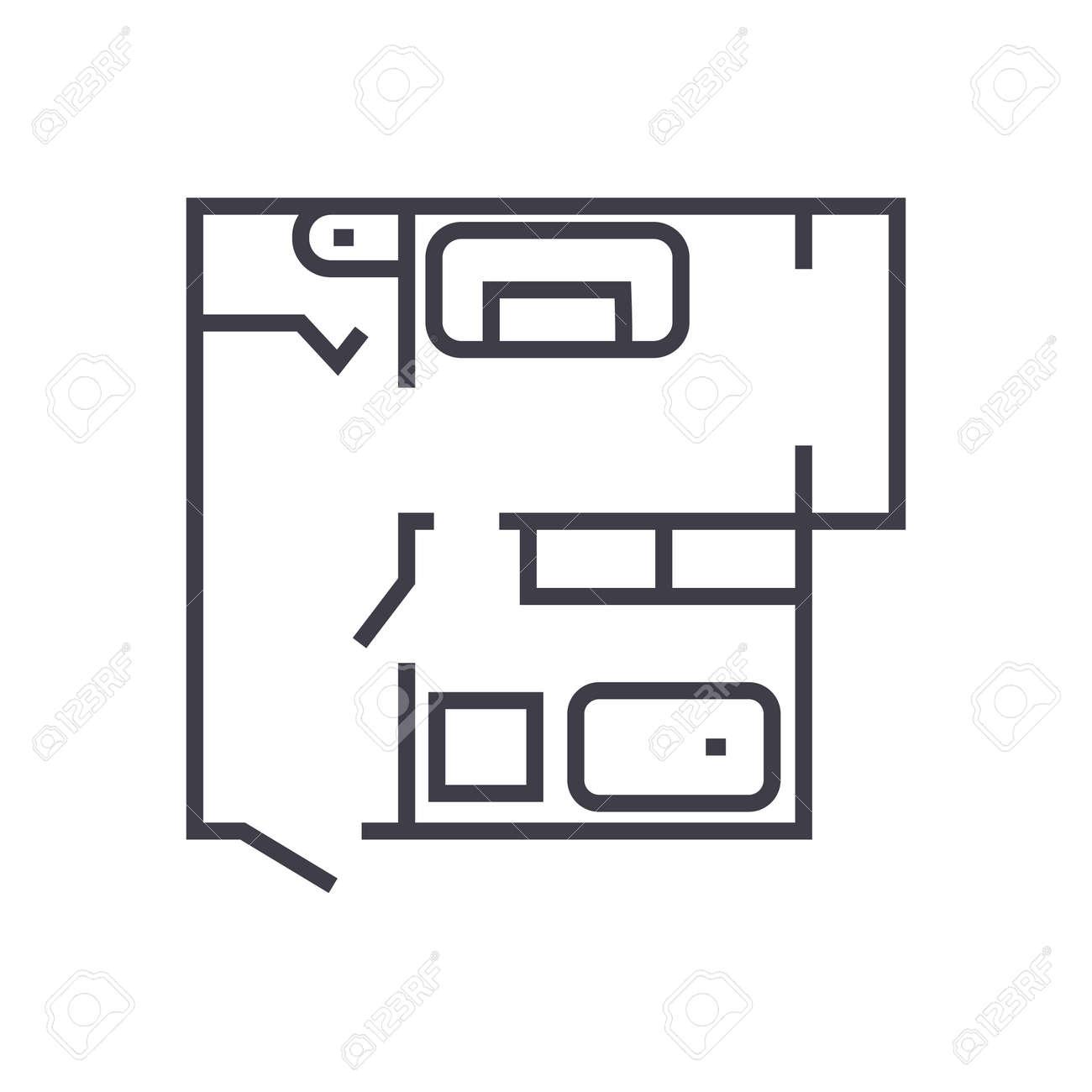 Blueprint,flat House Plan Vector Line Icon, Sign, Illustration ...