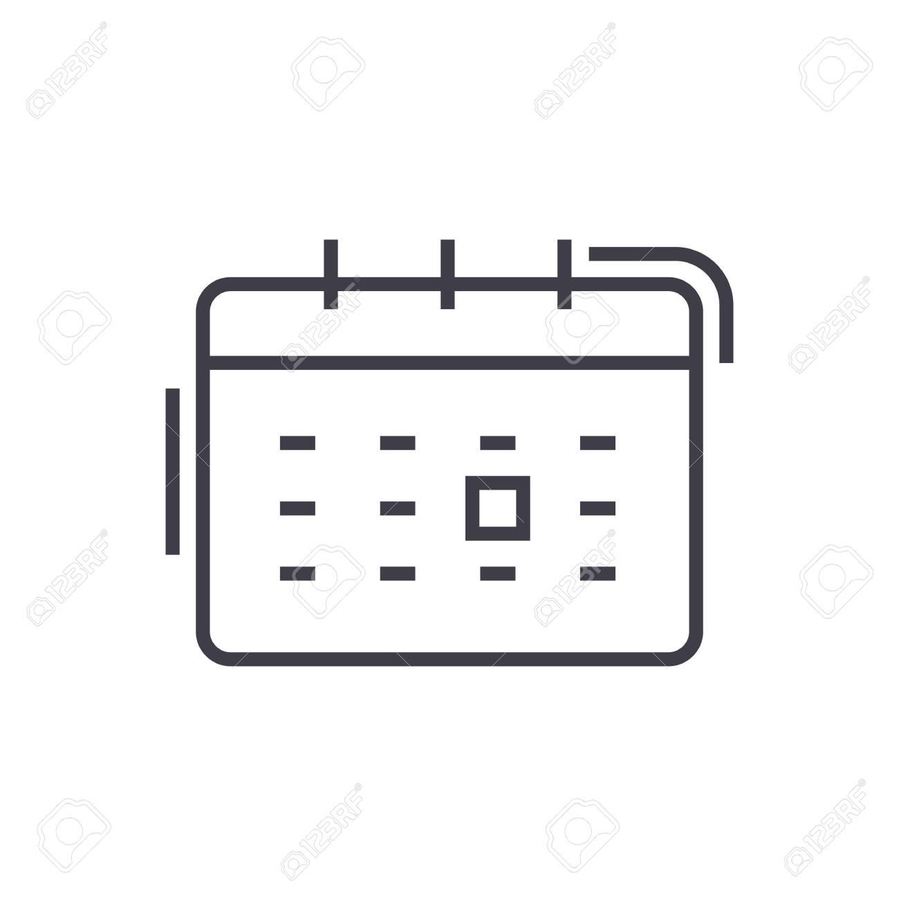 Calendario Vector Blanco.Calendar Vector Line Icon Sign Illustration On White Background