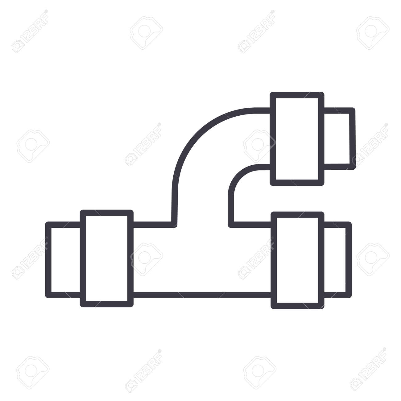 pipes plumbing vector line icon sign illustration on white rh 123rf com vector pipeline tariff vector pipeline expansion