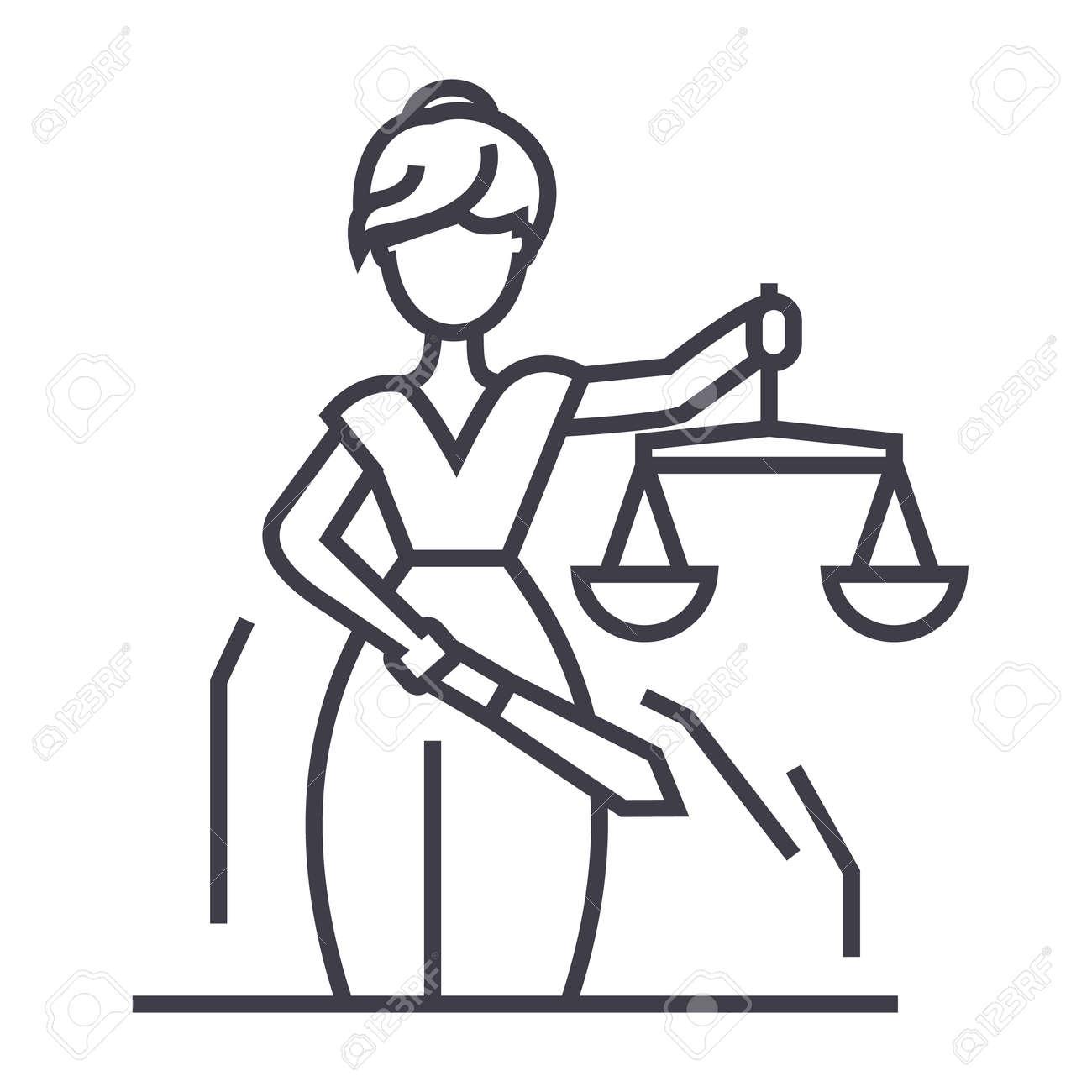 Icono De Línea De Estatua De Justicia Signo Ilustración Sobre