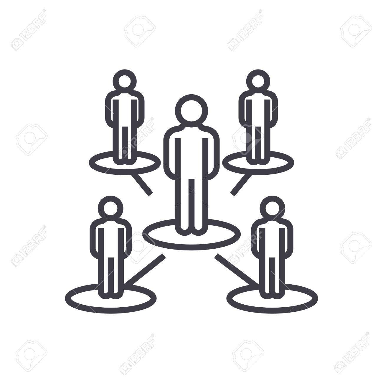 Leadership Networkmultilevel Marketingmlm Vector Line Icon Sign Illustration On White