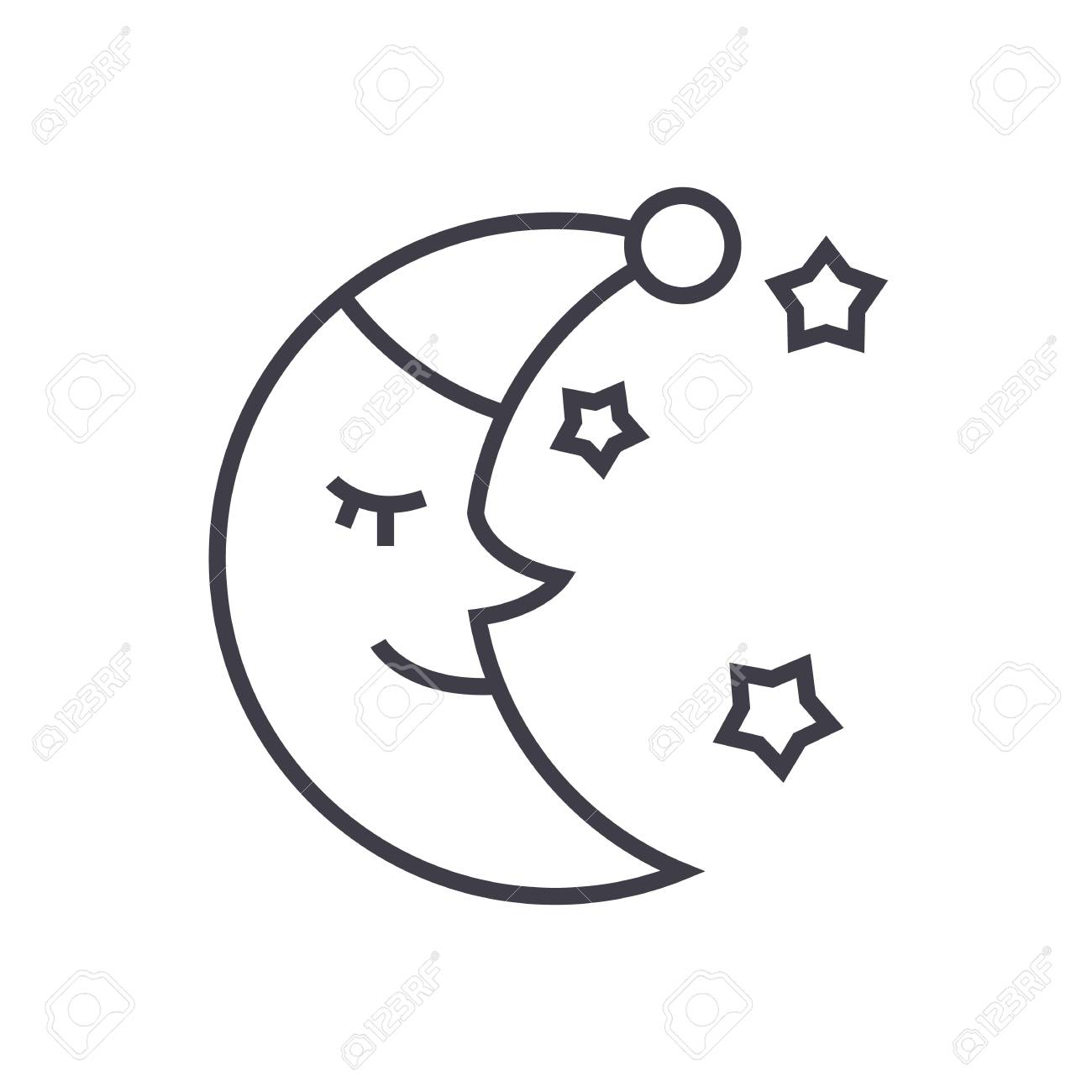 Moon Face Sleep Time Vector Line Icon Sign Illustration On White Background