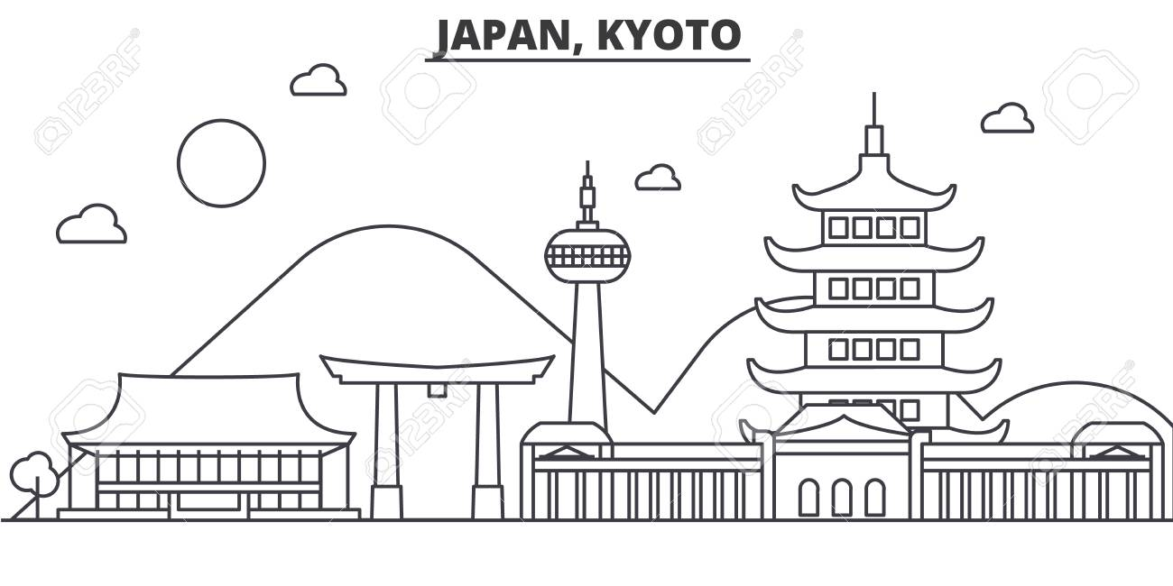 Japan Kyoto Architecture Line Skyline Illustration Linear Vector - Architecture-design-in-kyoto-japan