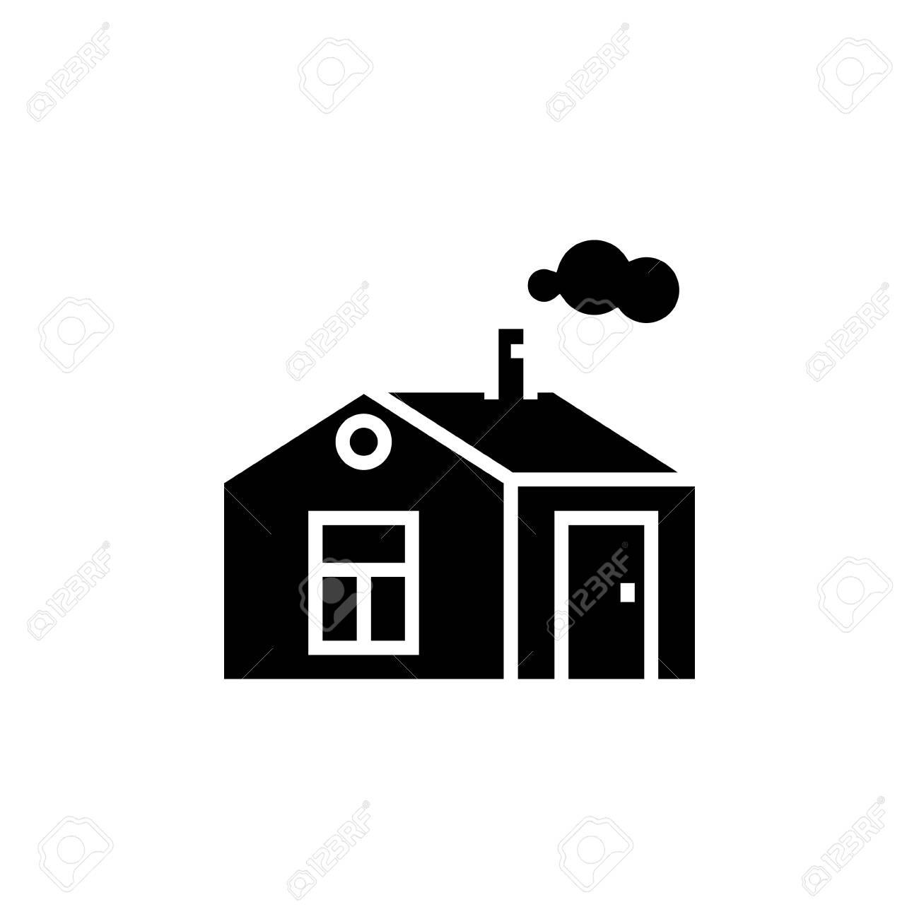 煙突のアイコンイラストベクトルとシンプルな家に孤立した背景に署名
