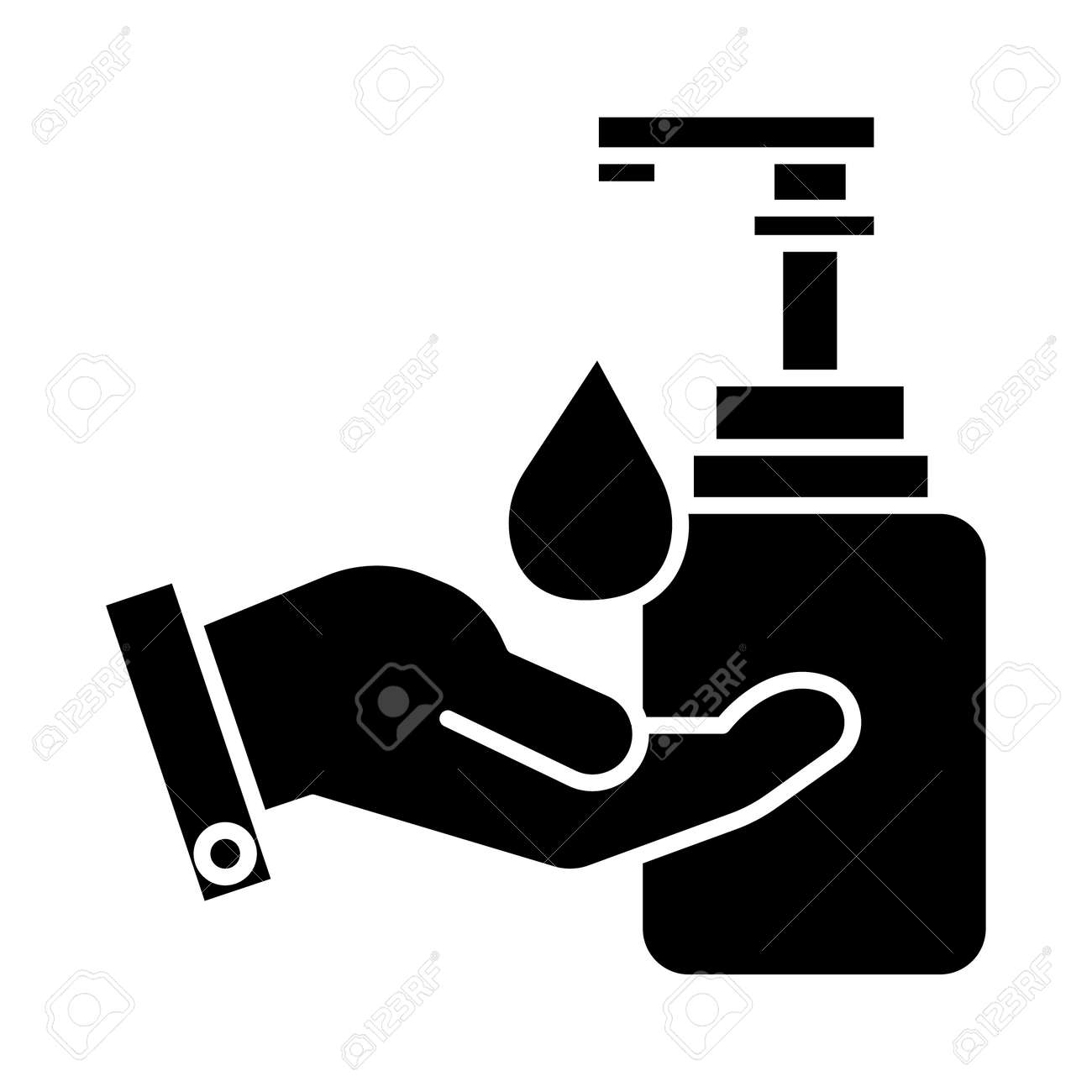 liquid soap with hand icon, illustration, vector sign on isolated background - 88103641