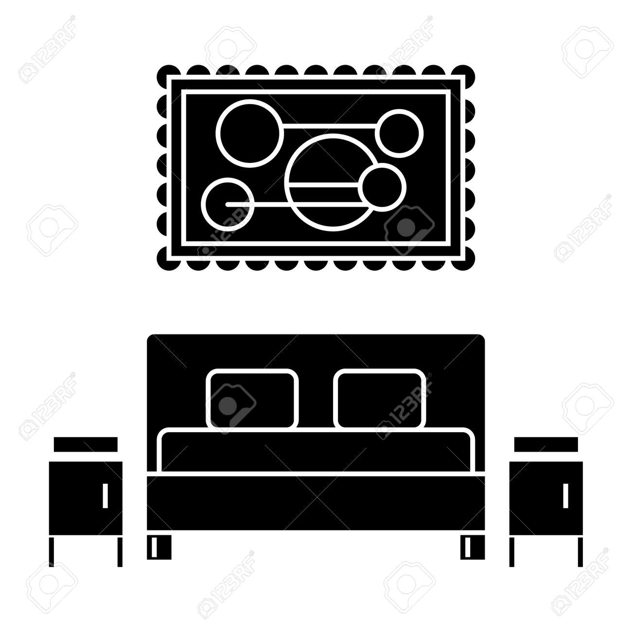 Bedroom Icon Vector Illustration Black Sign On Isolated Background