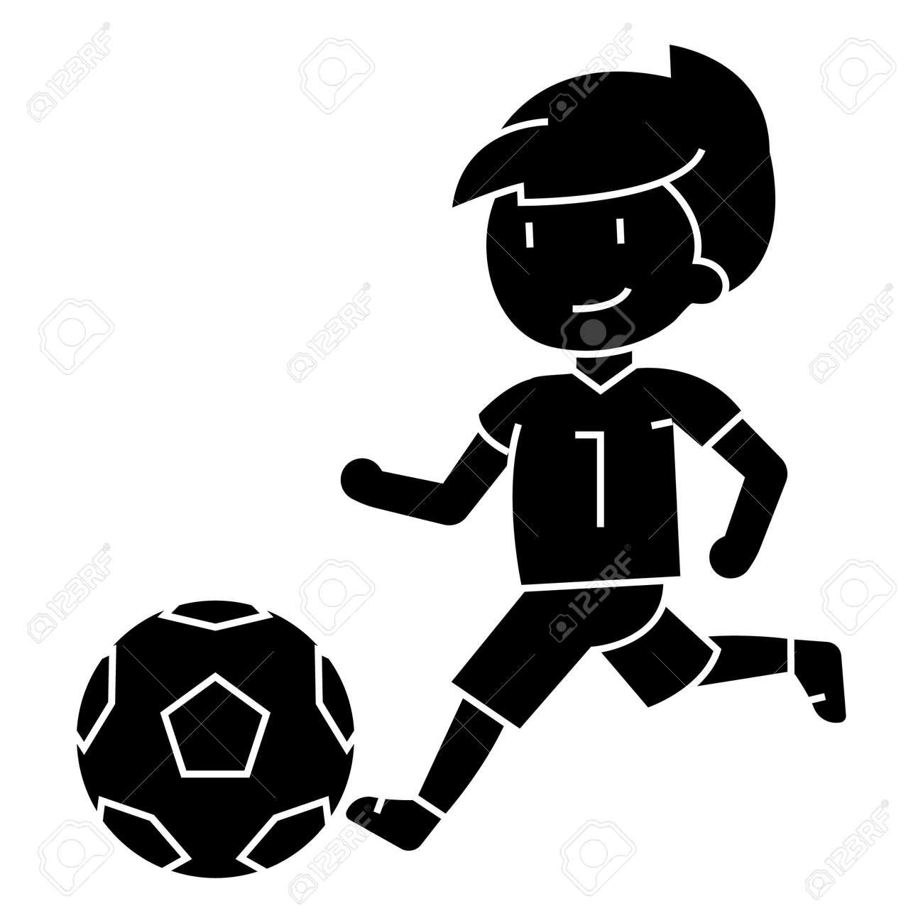 Nino Jugando Futbol Icono Ilustraciones Vectoriales Clip Art