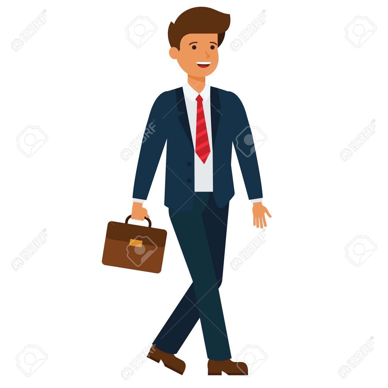 Businessman going to work cartoon flat illustration concept on isolated vector white background - 88346723
