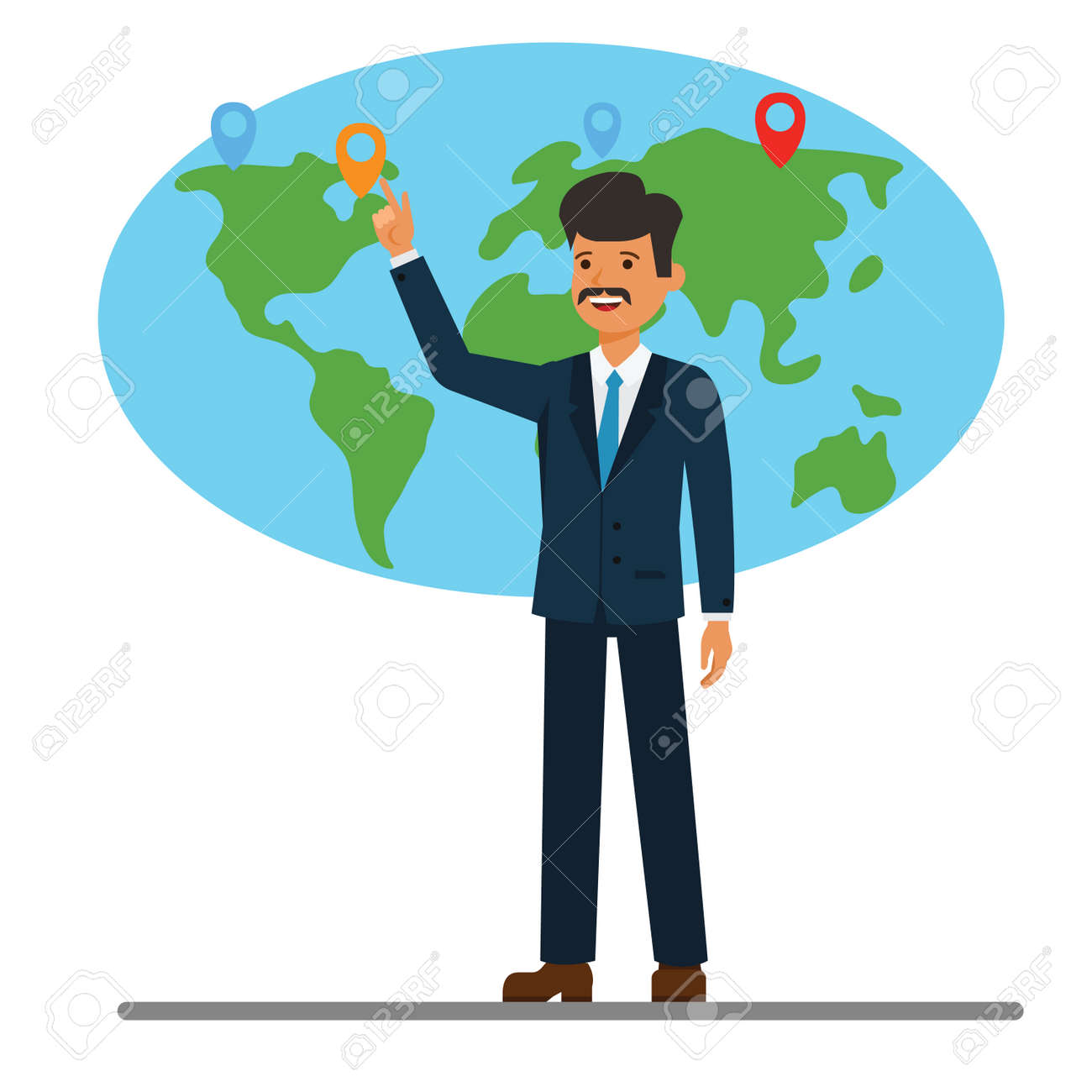 Businessman pointing at global world map cartoon flat illustration businessman pointing at global world map cartoon flat illustration concept on isolated vector white background stock gumiabroncs Images