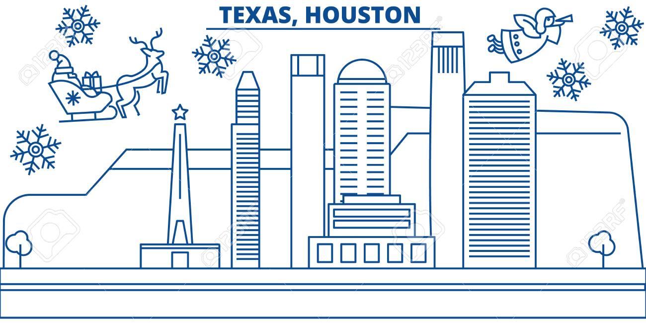 Foto Di Natale Neve Inverno 94.Orizzonte Della Citta Di Inverno Di Usa Il Texas Houston Buon Natale E Felice Anno Nuovo Decorato Banner Biglietto Di Auguri Invernale Con Neve E