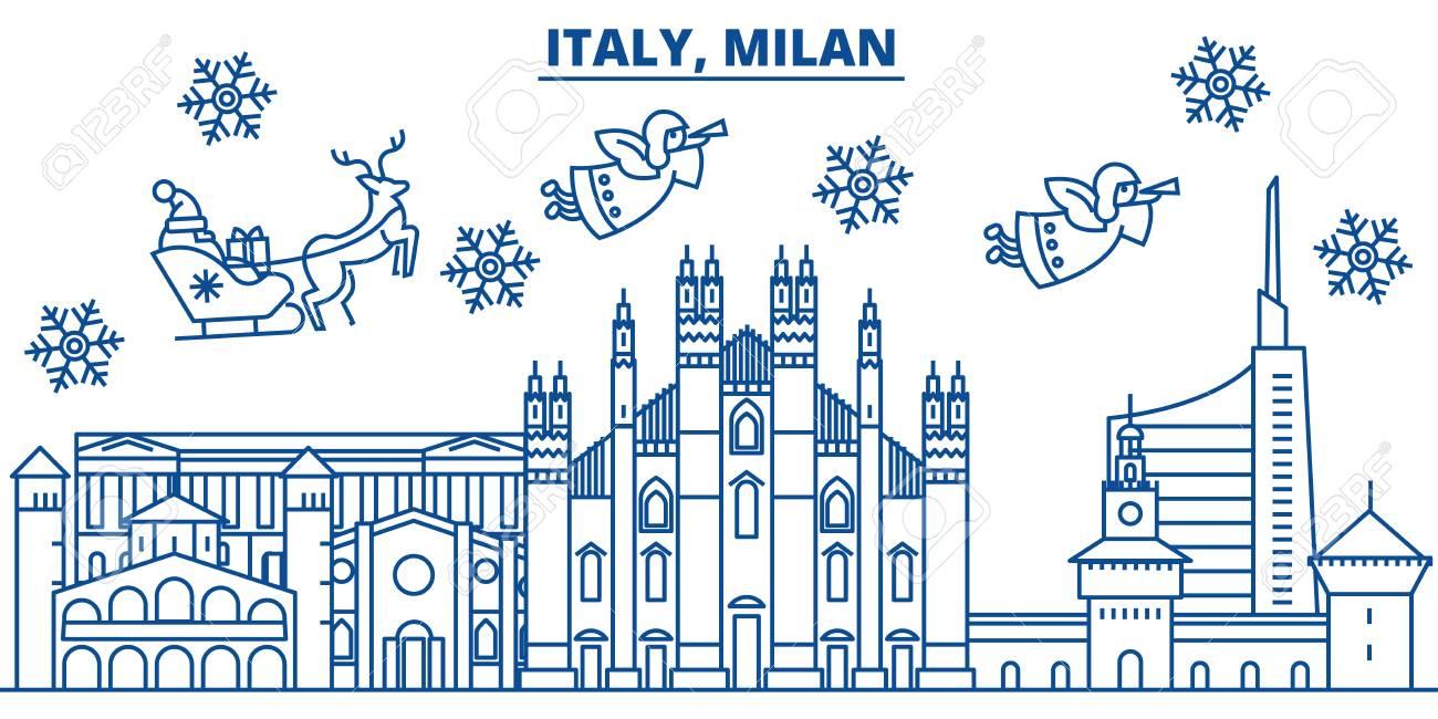 Buon Natale 883.L Italia Orizzonte Della Citta Di Inverno Di Milano Buon Natale Felice Anno Nuovo Banner Decorato Con Babbo Natale Cartolina D Auguri Di Inverno
