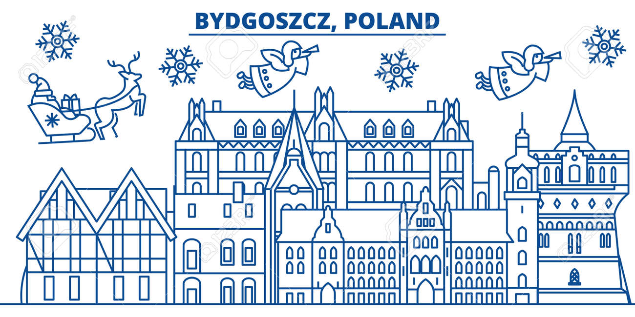 Buon Natale 883.La Polonia Orizzonte Della Citta Di Inverno Di Bydgoszcz Buon Natale Felice Anno Nuovo Decorato Banner Con Babbo Natale Cartolina D Auguri Di
