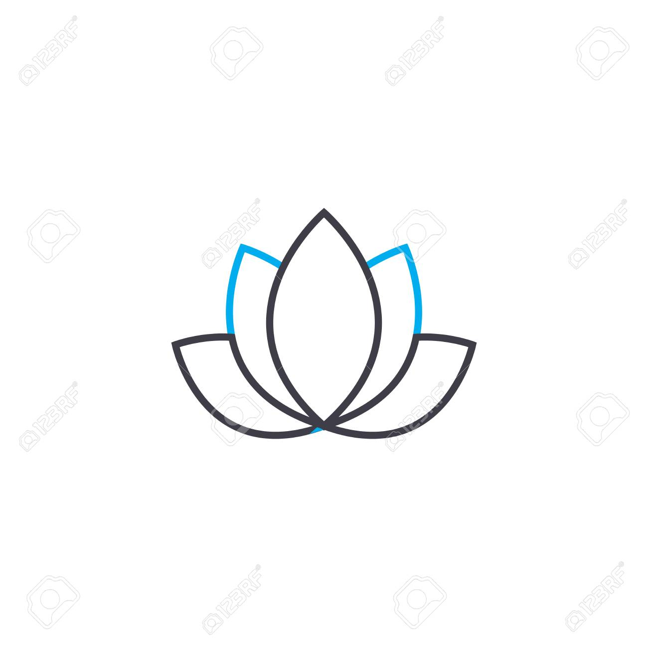 Lotus line icon, vector illustration. Lotus linear concept sign. - 101937874