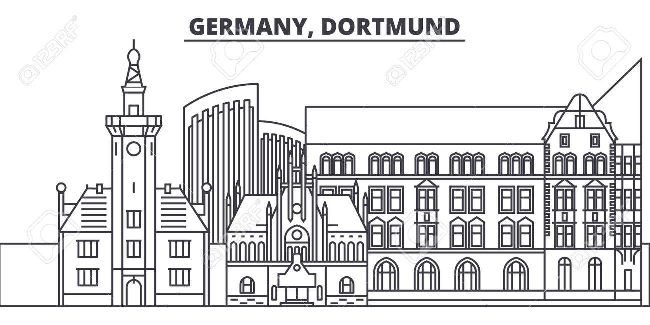Germany, Dortmund line skyline vector illustration. Germany, Dortmund linear cityscape with famous landmarks, city sights, vector design landscape. - 101976232