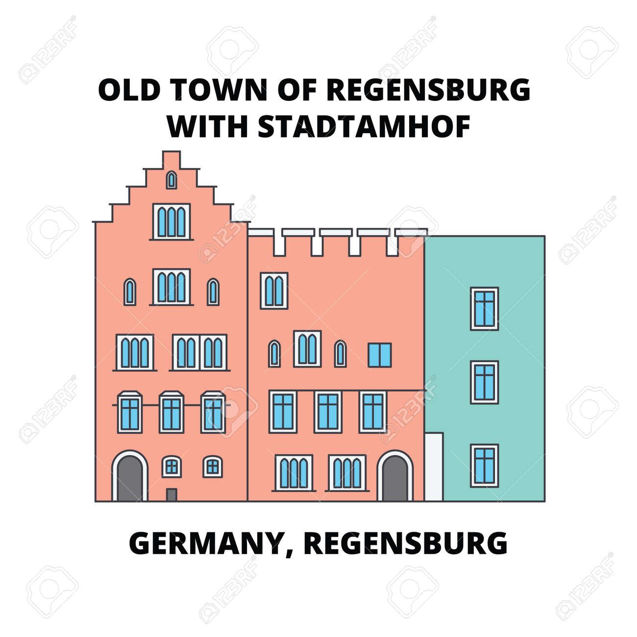 Germany, Regensburg, Old Town Stadtamhof line icon, vector illustration. Germany, Regensburg, Old Town Stadtamhof flat concept sign. - 102463294