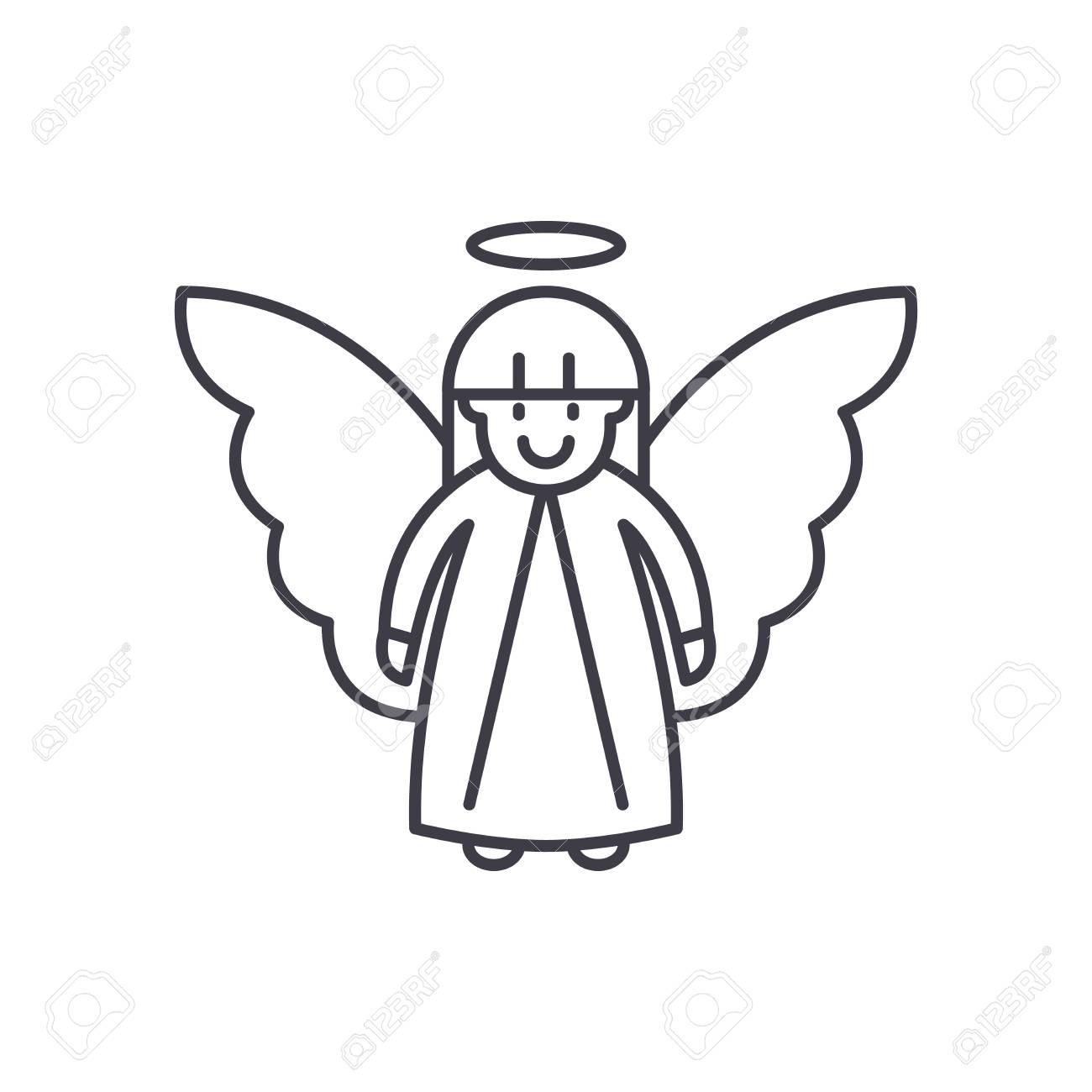 Easter angel line icon concept. Easter angel vector linear illustration, sign, symbol - 112692314