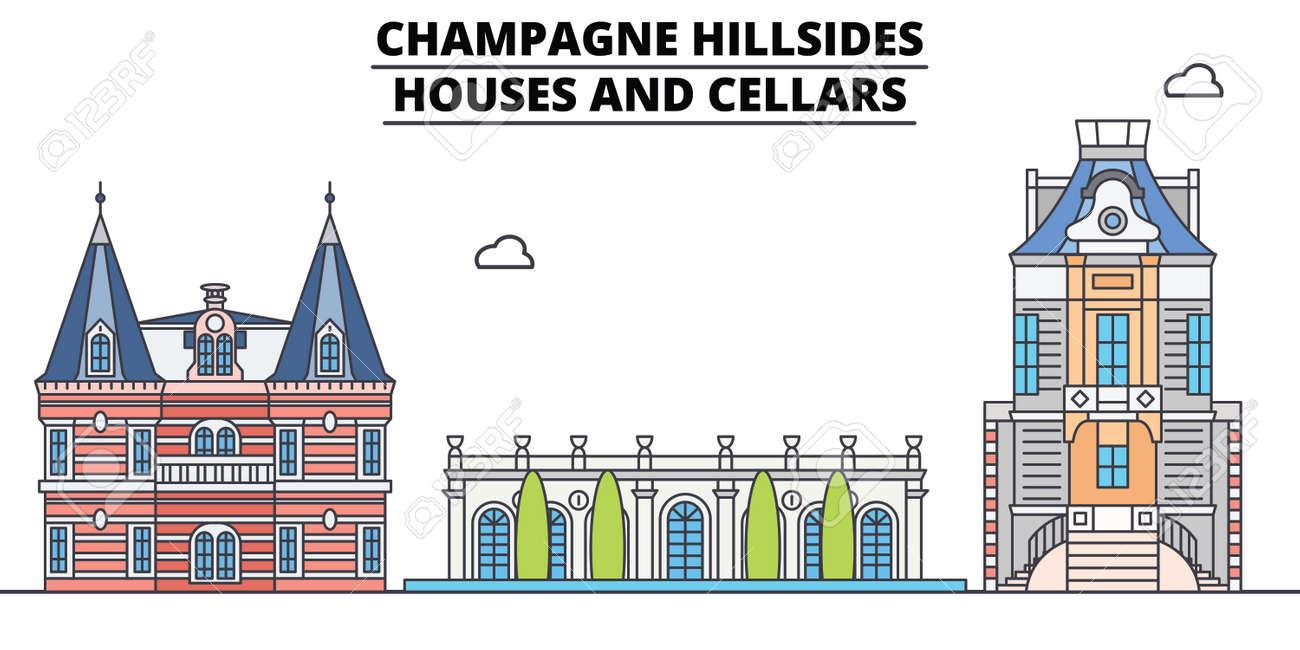 Champagne Hillsides - Houses And Cellars line travel landmark, skyline vector design. Champagne Hillsides - Houses And Cellars linear illustration. - 112694221