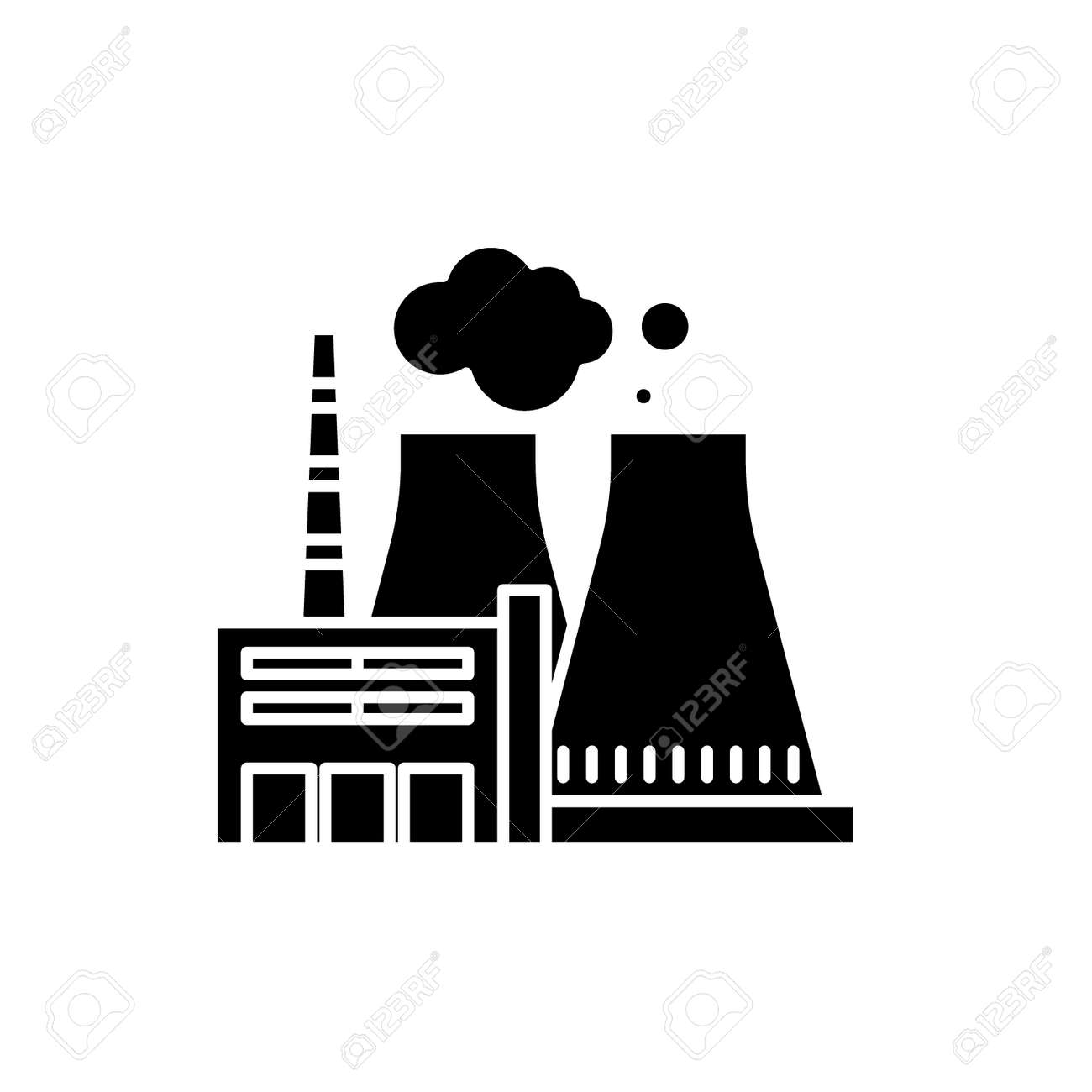 Thermal Power Plant Black Icon Concept Vector Sign On Isolated Royalty Free Cliparts Vectors And Stock Illustration Image 127266599