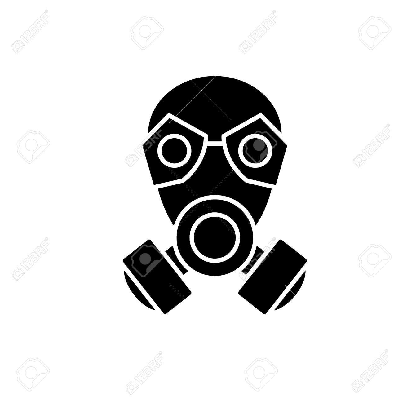 Mask black icon, concept vector sign on isolated background. Mask illustration, symbol - 113531592