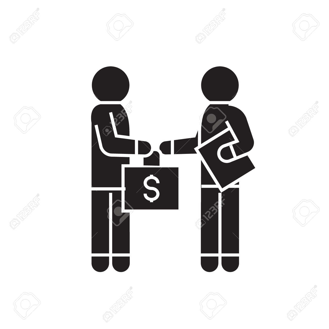 Bribery and corruption, man giving money black vector concept icon. Bribery and corruption, man giving money flat illustration, sign, symbol - 126905872
