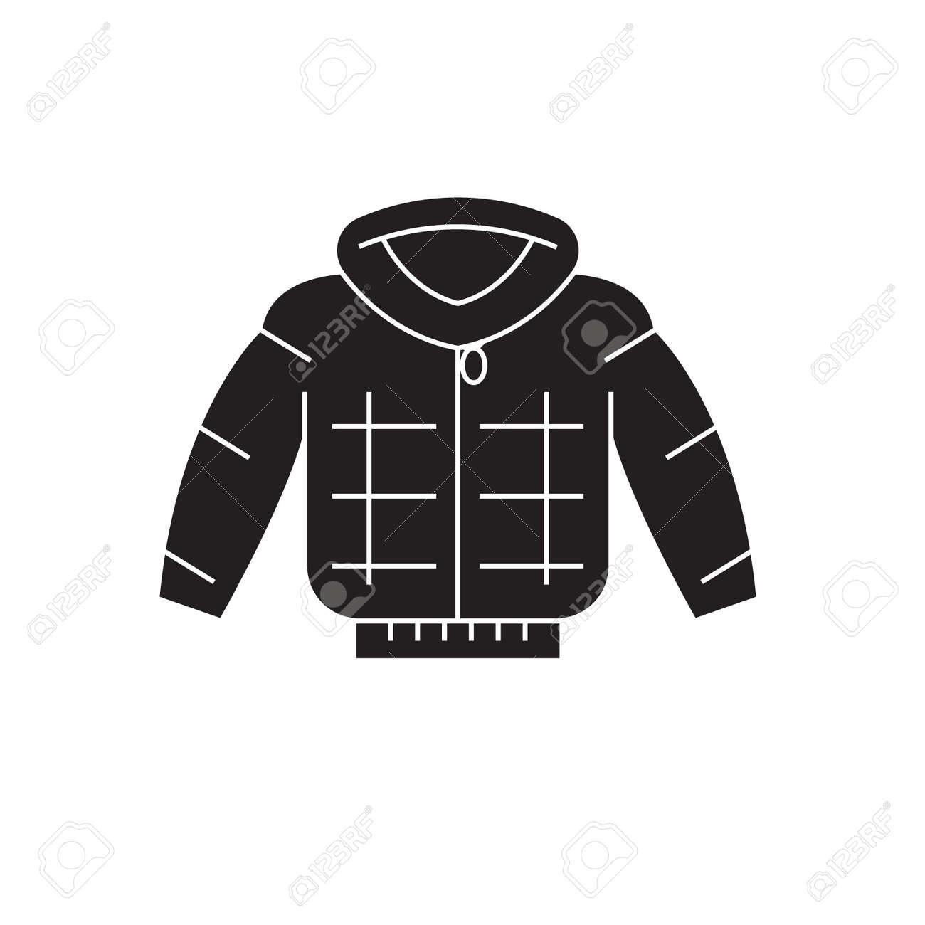 51c69ee4135 Down jacket black vector concept icon. Down jacket flat illustration, sign,  symbol Stock