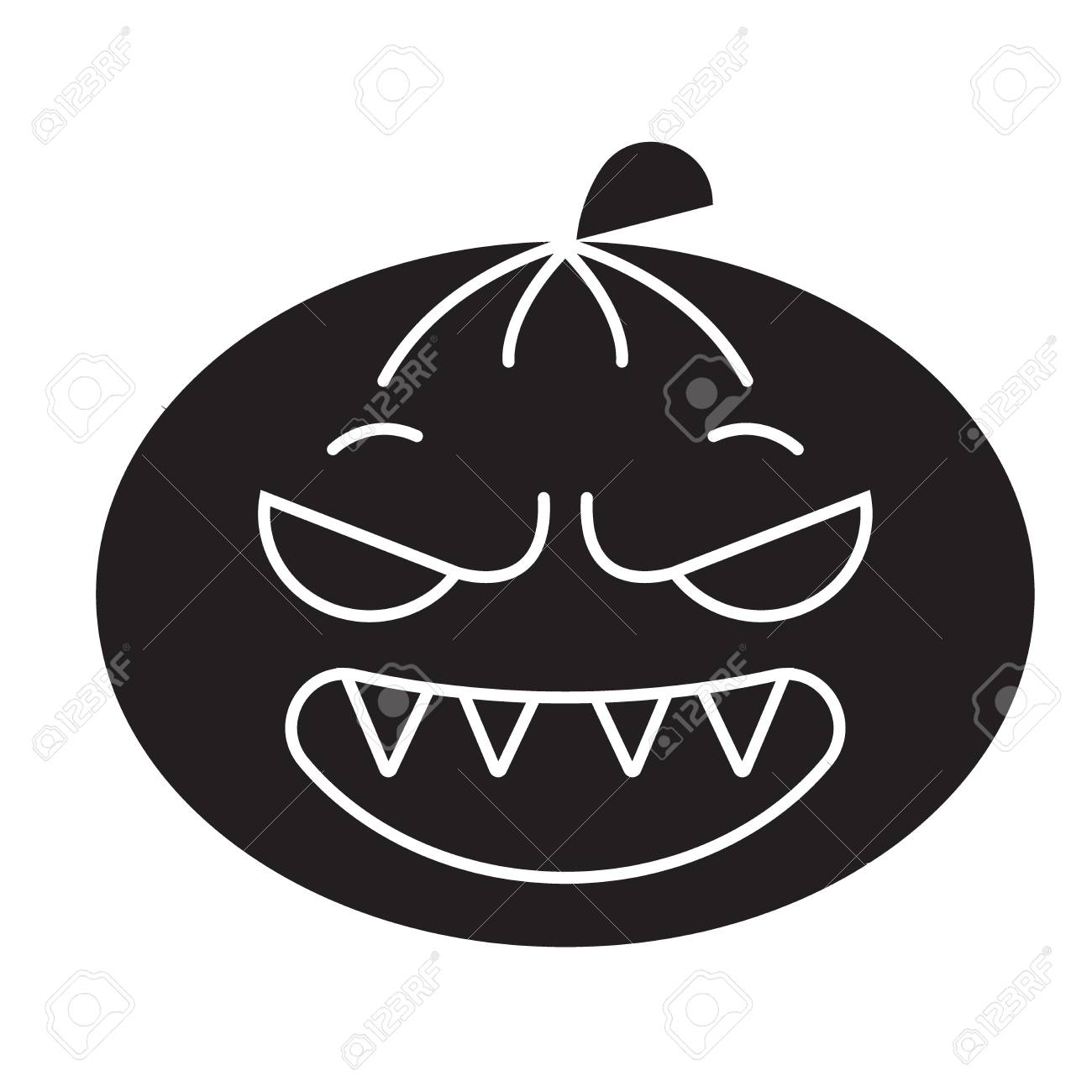 Halloween emoji black vector concept icon  Halloween emoji flat