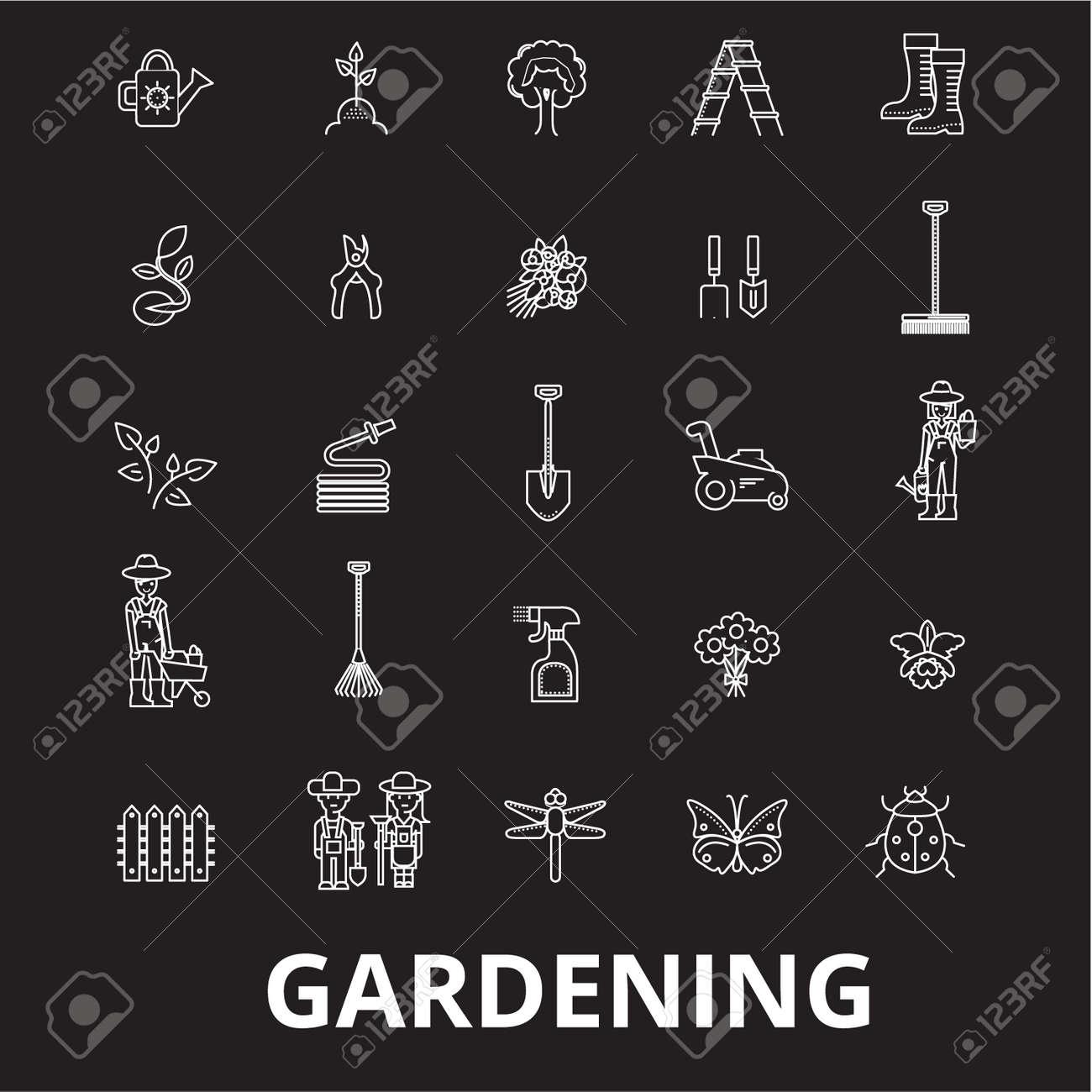 Gardening editable line icons vector set on black background. Gardening white outline illustrations, signs,symbols - 126636527