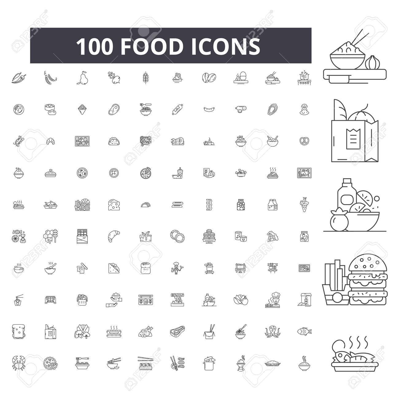 Food editable line icons, 100 vector set on white background. Food black outline illustrations, signs, symbols - 116430695
