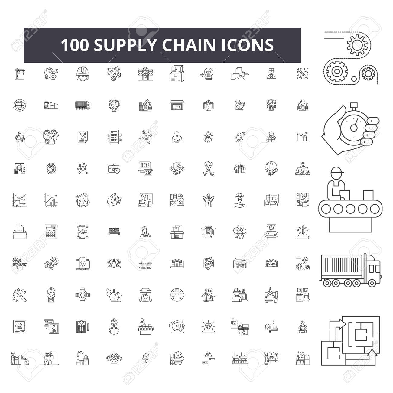 Supply chain editable line icons, 100 vector set on white background. Supply chain black outline illustrations, signs, symbols - 116430940