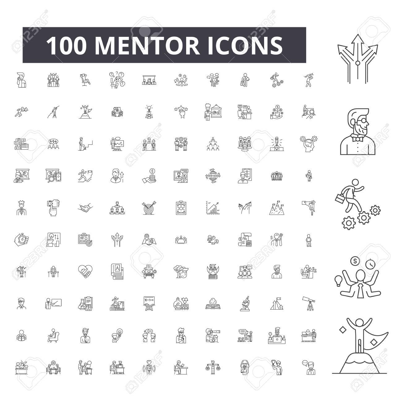 Mentor editable line icons, 100 vector set on white background. Mentor black outline illustrations, signs, symbols - 116431137