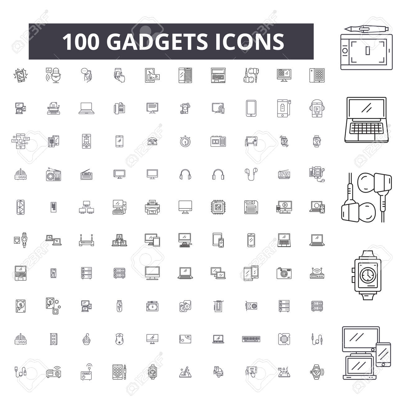 Gadgets editable line icons, 100 vector set on white background. Gadgets black outline illustrations, signs, symbols - 116431318