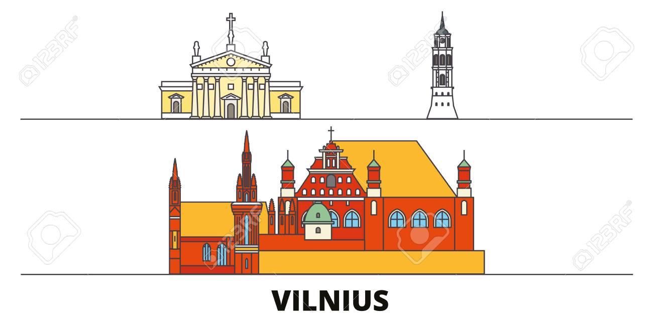 Lithuania, Vilnius flat landmarks vector illustration. Lithuania, Vilnius line city with famous travel sights, design skyline. - 120887590