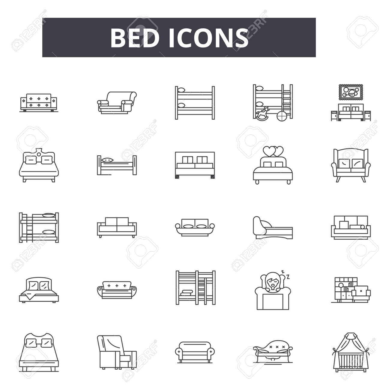 Bed line icons for web and mobile. Editable stroke signs. Bed outline concept illustrations - 119392089