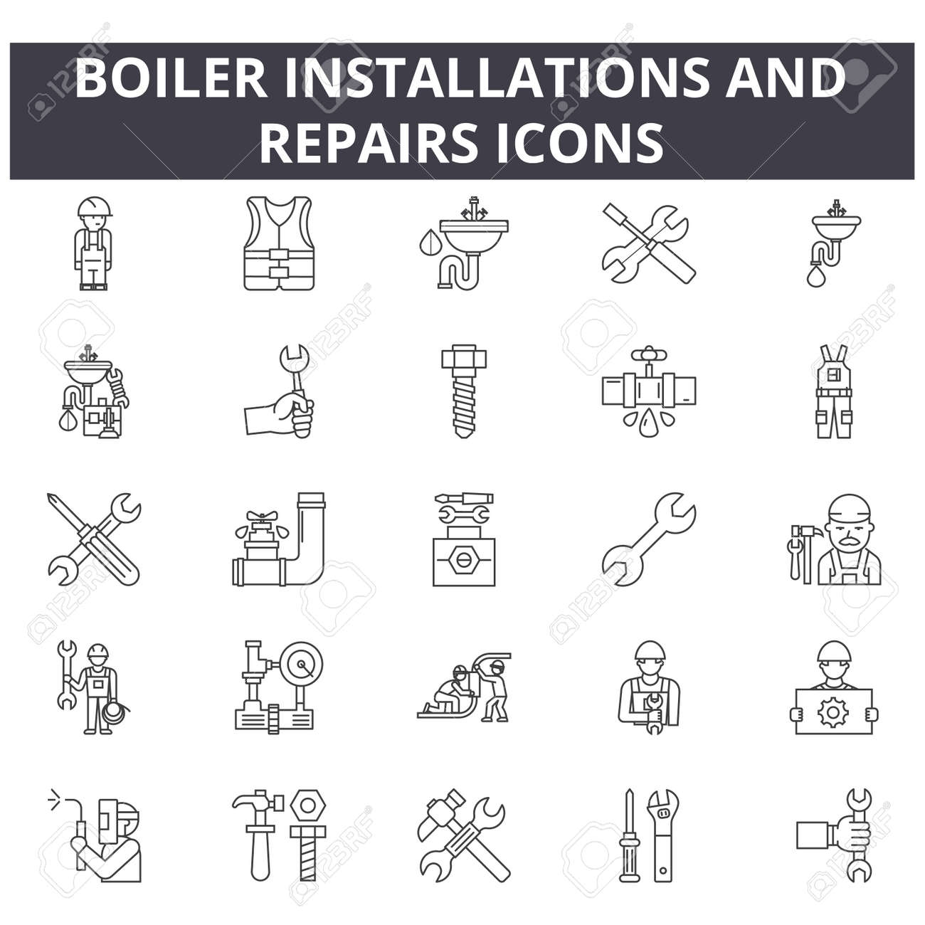 Boiler installations and repairs line icons for web and mobile. Editable stroke signs. Boiler installations and repairs outline concept illustrations - 119392032