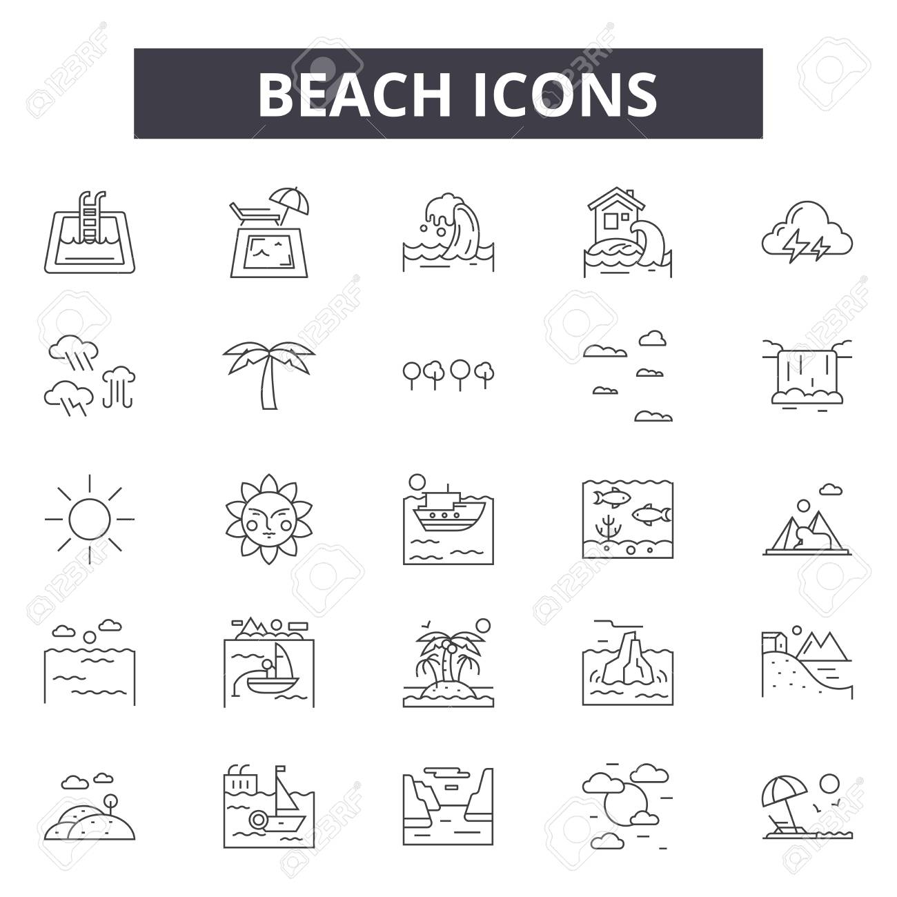 Beach line icons for web and mobile. Editable stroke signs. Beach outline concept illustrations - 119392034