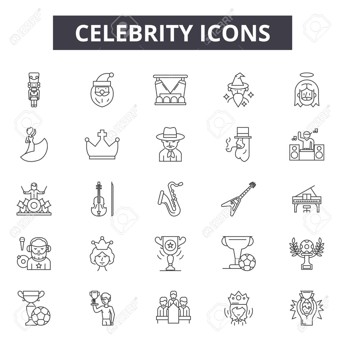 Celebrity line icons for web and mobile. Editable stroke signs. Celebrity outline concept illustrations - 119391846