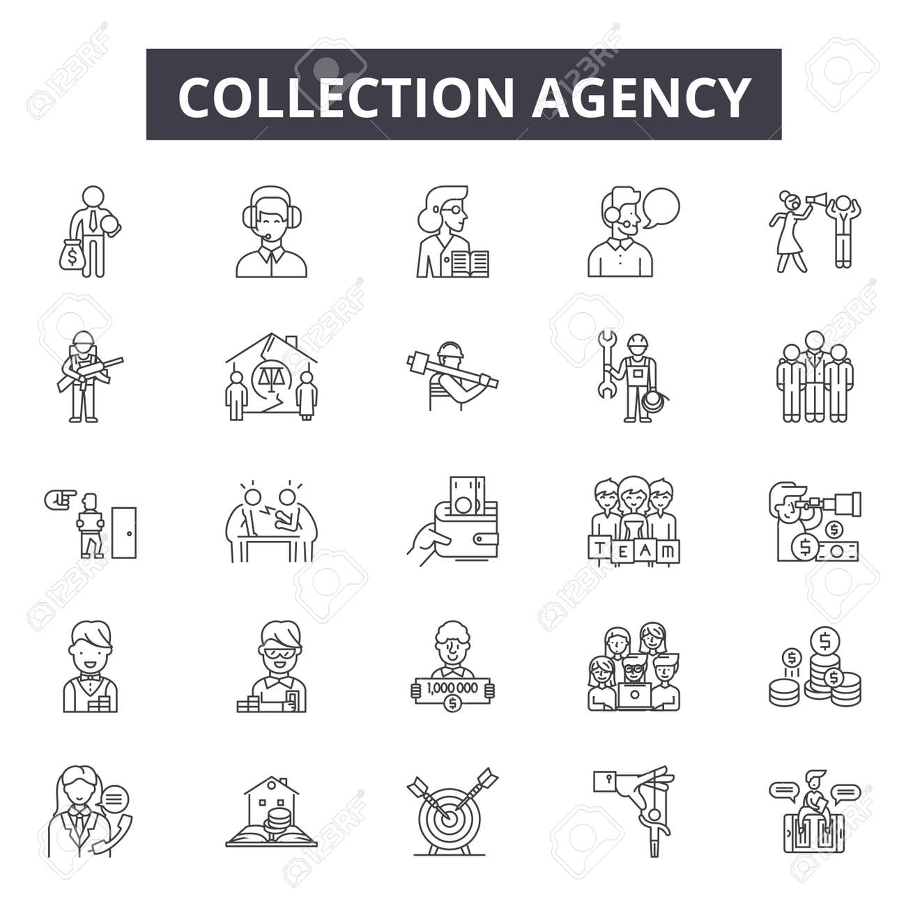 Collection agency line icons for web and mobile. Editable stroke signs. Collection agency outline concept illustrations - 119391758